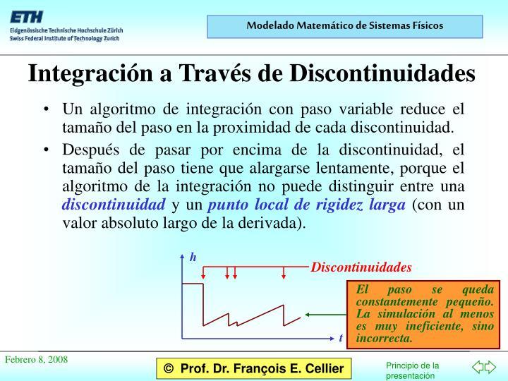 Un algoritmo de integración con paso variable reduce el tamaño del paso en la proximidad de cada discontinuidad.