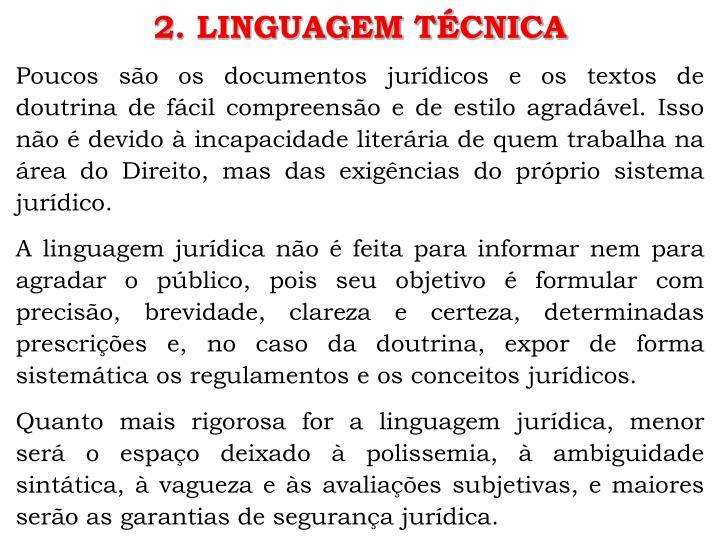 2. LINGUAGEM TÉCNICA