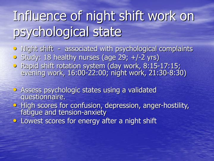 health effects of working nights Effects of working the night shift on depression by an ehow contributing writer not everyone who works the night shift is a happy night owl getting accustomed to a night time work shift can take a physical and mental.