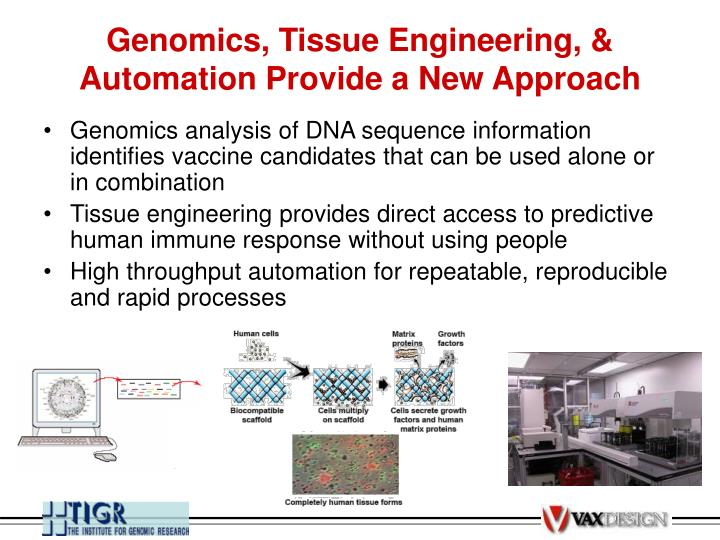 Genomics, Tissue Engineering, & Automation Provide a New Approach