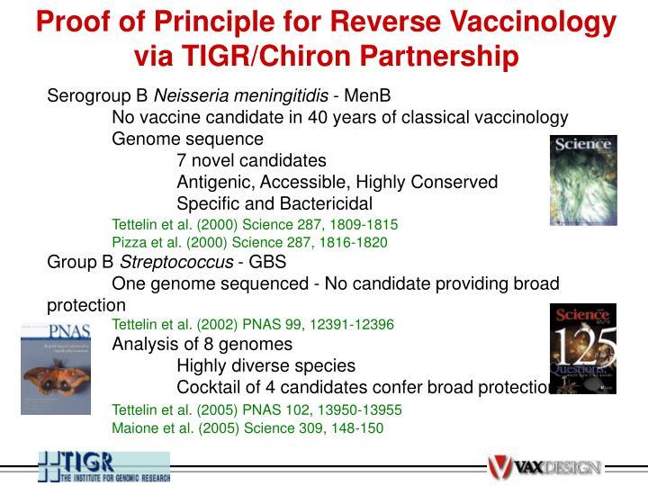 Proof of Principle for Reverse Vaccinology via TIGR/Chiron Partnership