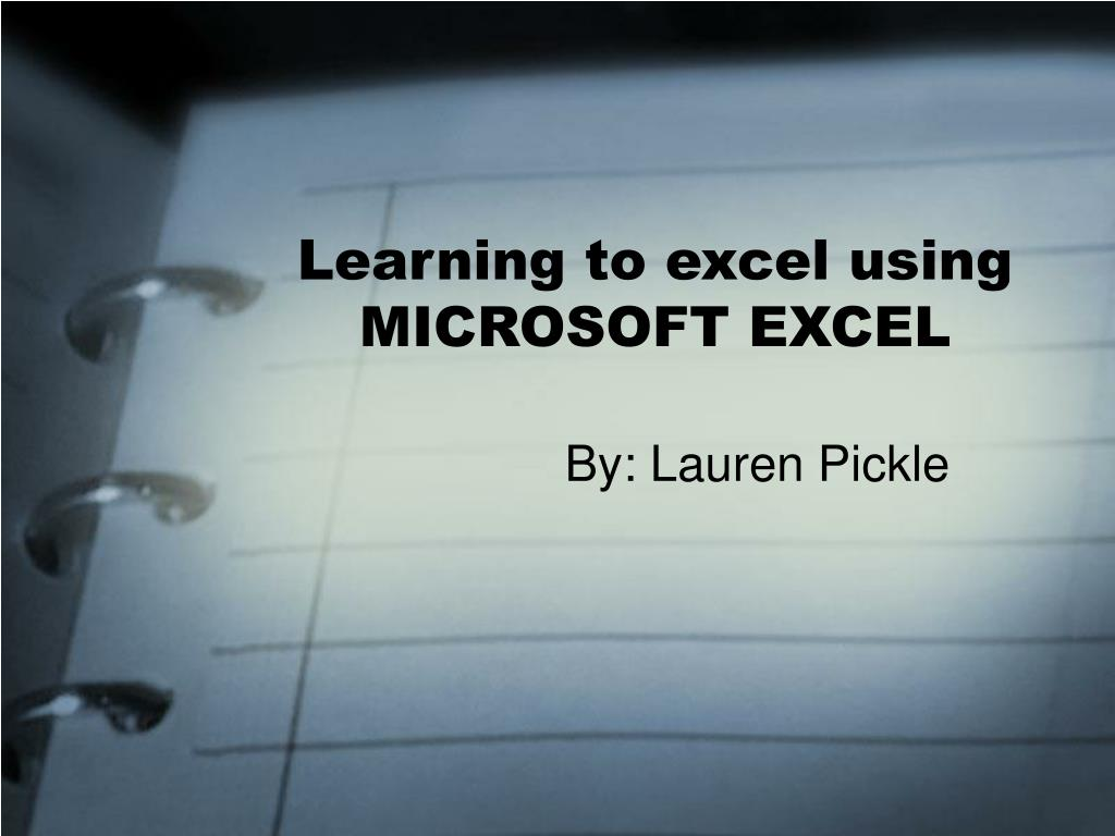 learning to excel using microsoft excel l.