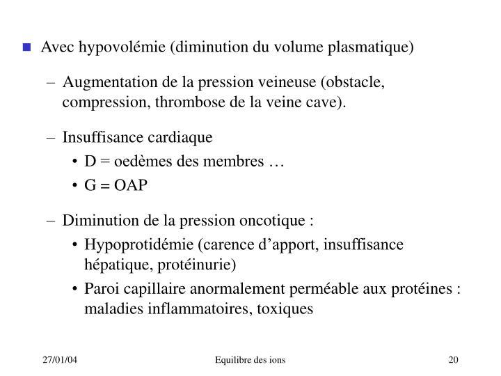Avec hypovolémie (