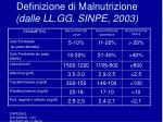 definizione di malnutrizione dalle ll gg sinpe 2003