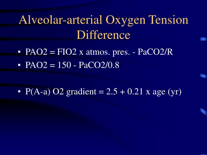 Alveolar arterial oxygen tension difference