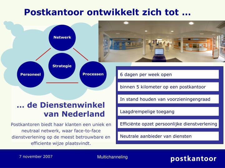 Postkantoor ontwikkelt zich tot …