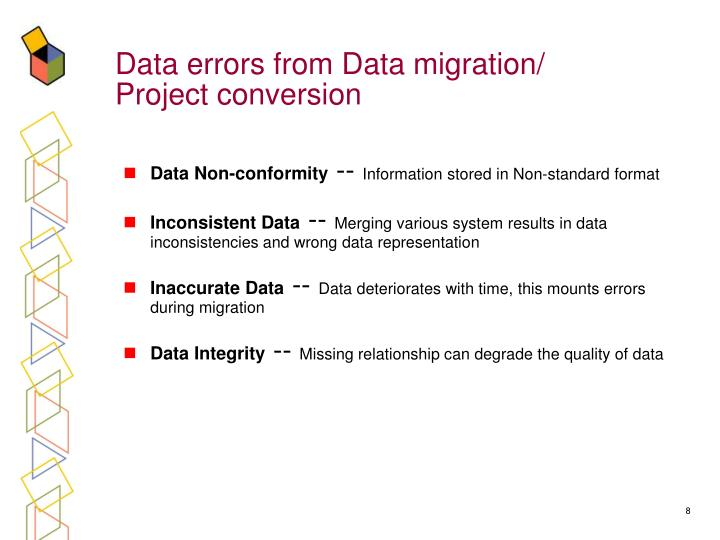 Data errors from Data migration/ Project conversion
