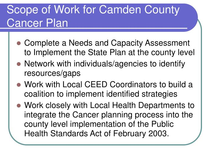 Scope of work for camden county cancer plan