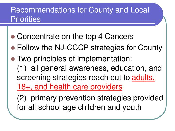 Recommendations for County and Local Priorities