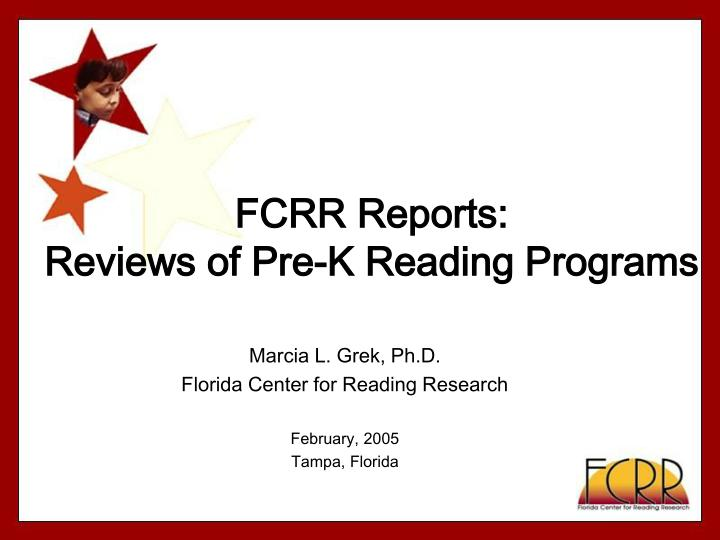 fcrr reports reviews of pre k reading programs n.