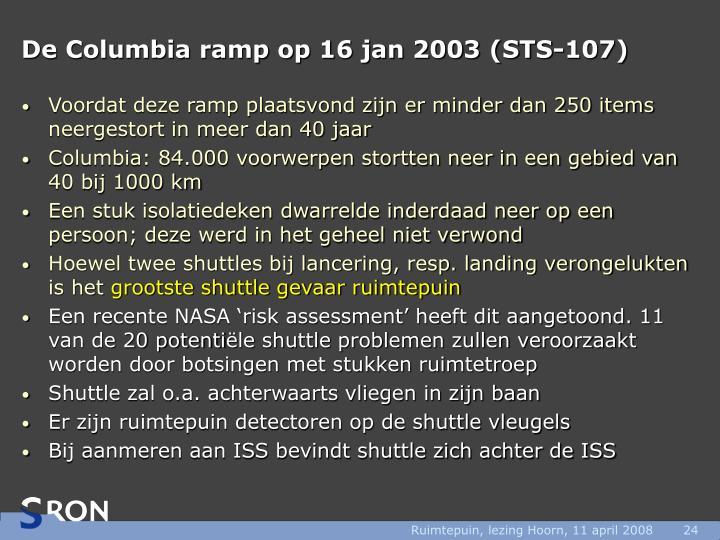 De Columbia ramp op 16 jan 2003 (STS-107)