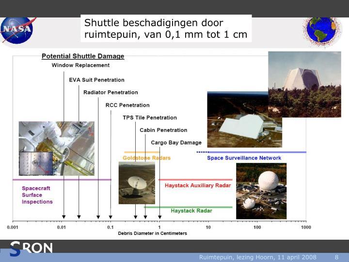 Shuttle beschadigingen door