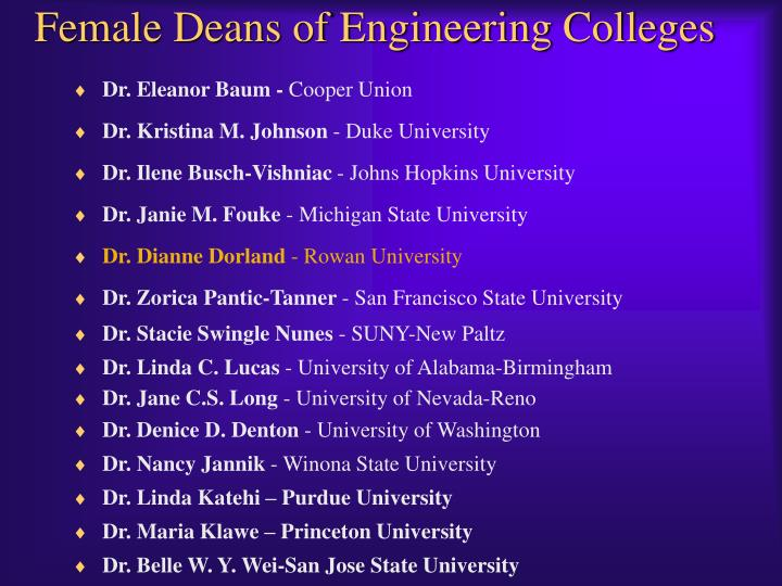 Female Deans of Engineering Colleges