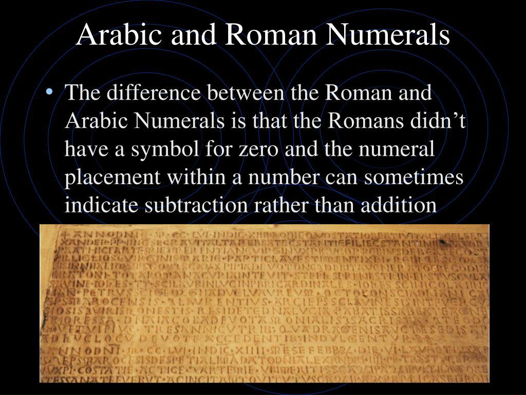 Arabic and Roman Numerals