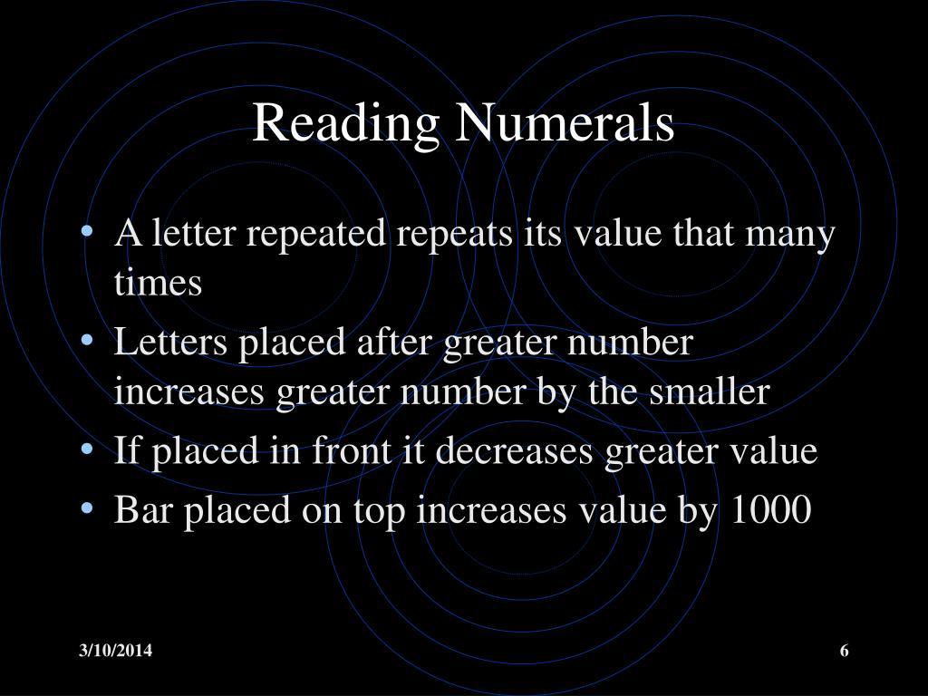 Reading Numerals