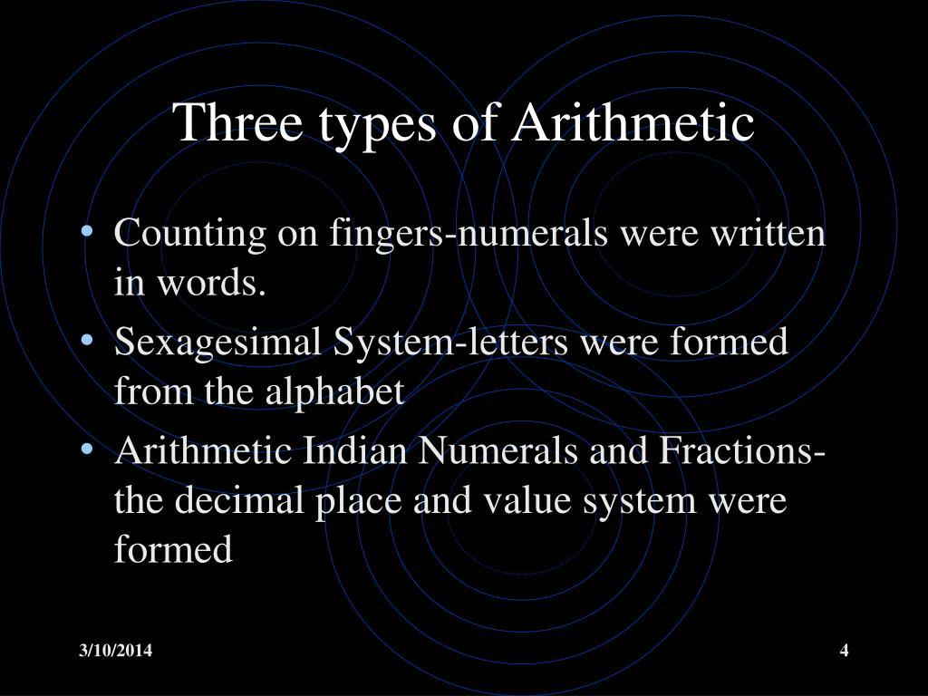 Three types of Arithmetic