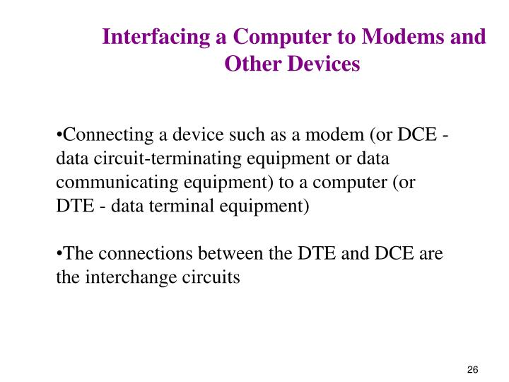 Interfacing a Computer to Modems and