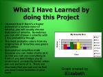 what i have learned by doing this project