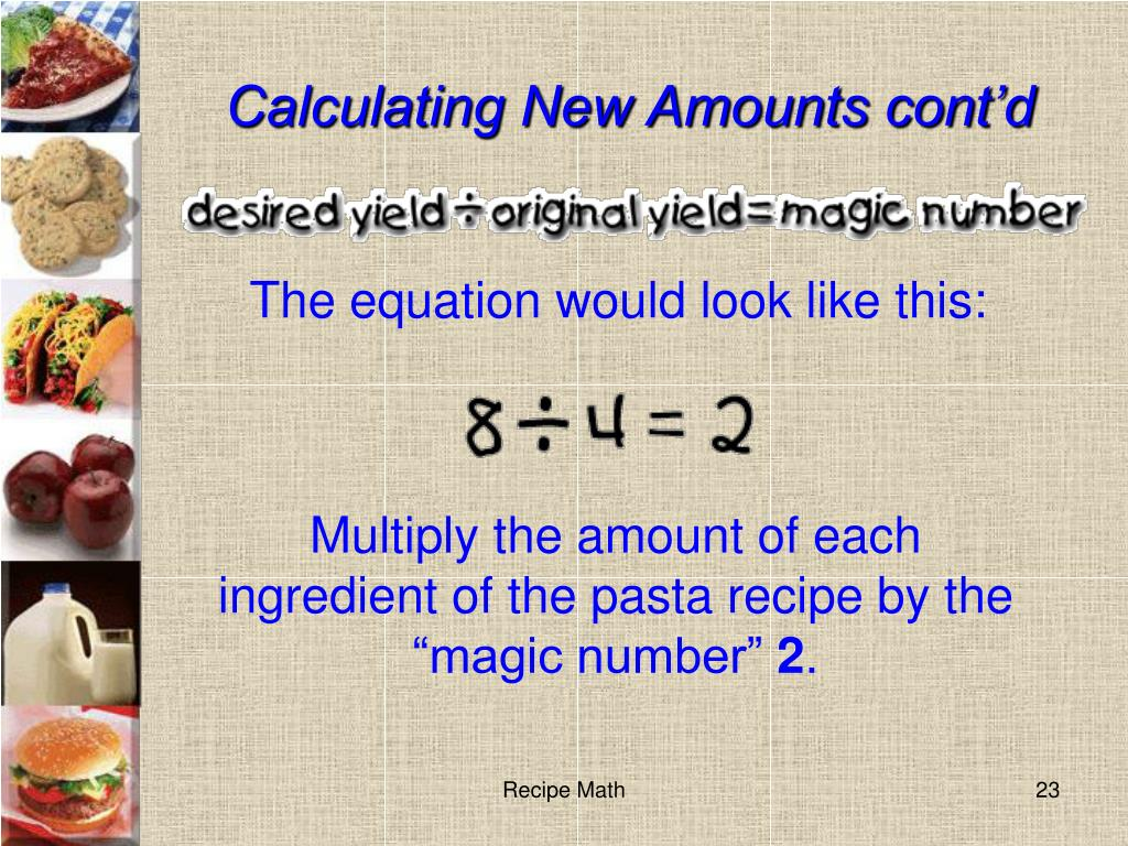 Calculating New Amounts cont'd