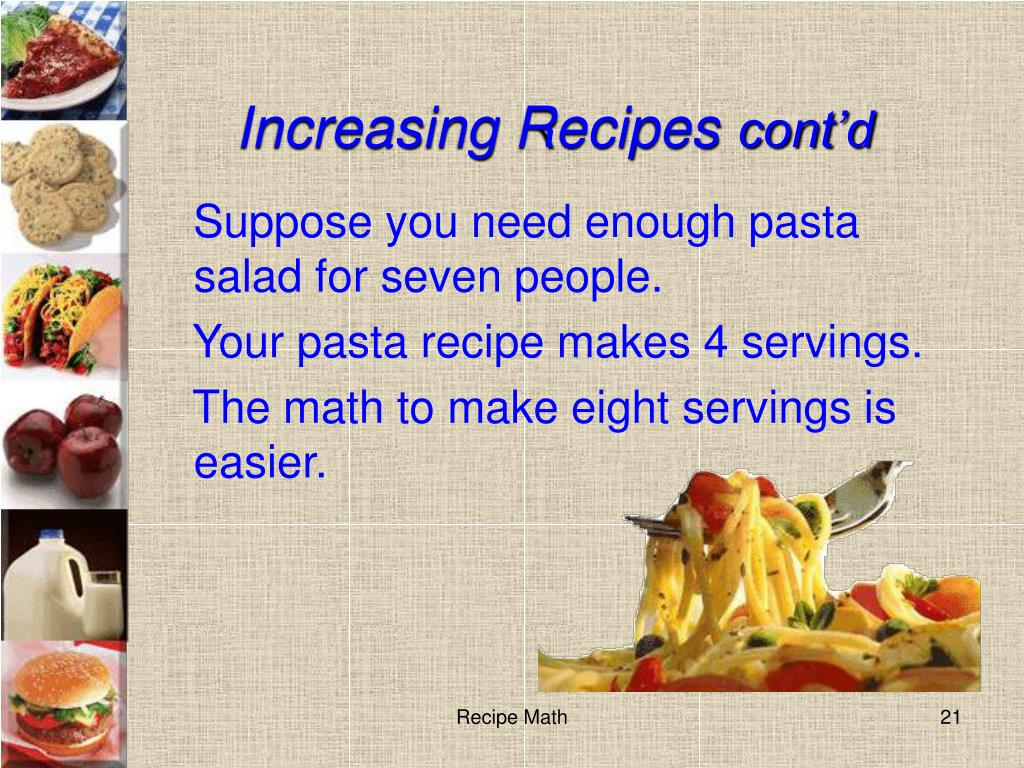 Increasing Recipes