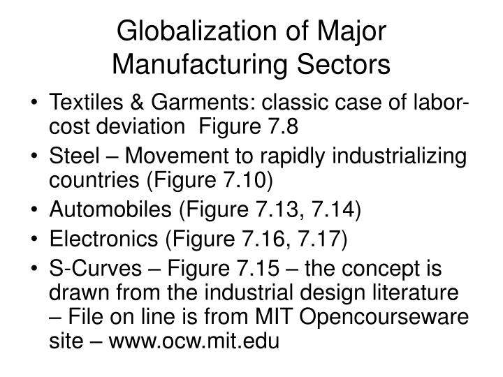 globalization of major manufacturing sectors n.