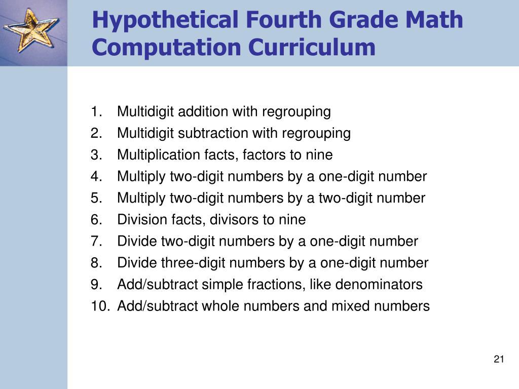 Hypothetical Fourth Grade Math