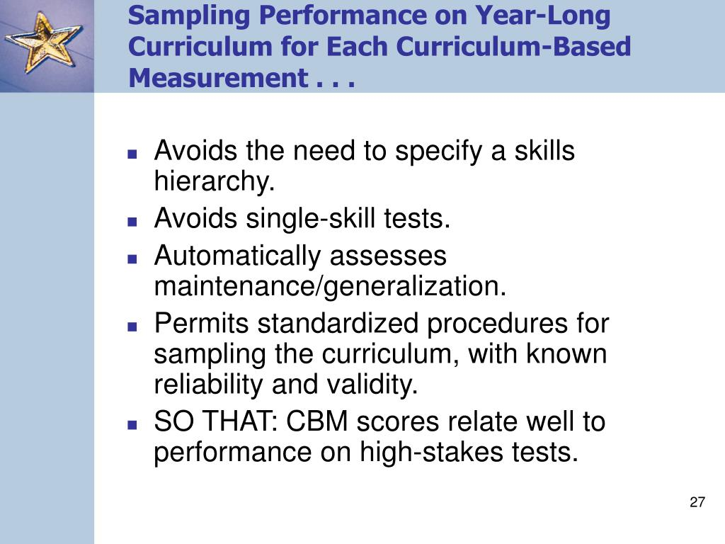 Sampling Performance on Year-Long Curriculum for Each Curriculum-Based Measurement . . .