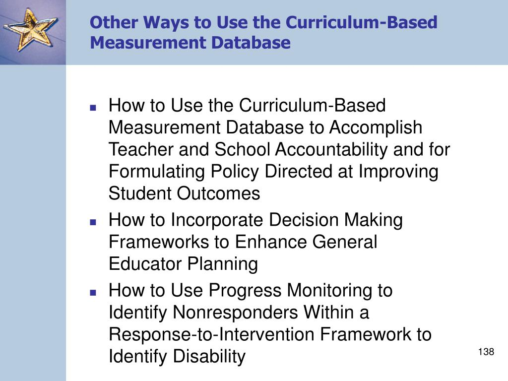 Other Ways to Use the Curriculum-Based Measurement Database