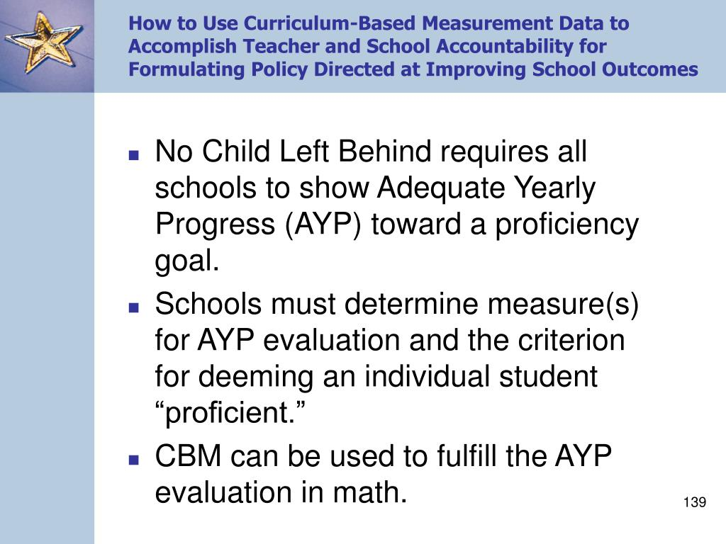 How to Use Curriculum-Based Measurement Data to Accomplish Teacher and School Accountability for Formulating Policy Directed at Improving School Outcomes