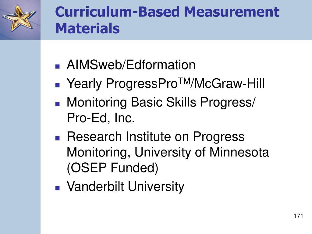 Curriculum-Based Measurement Materials