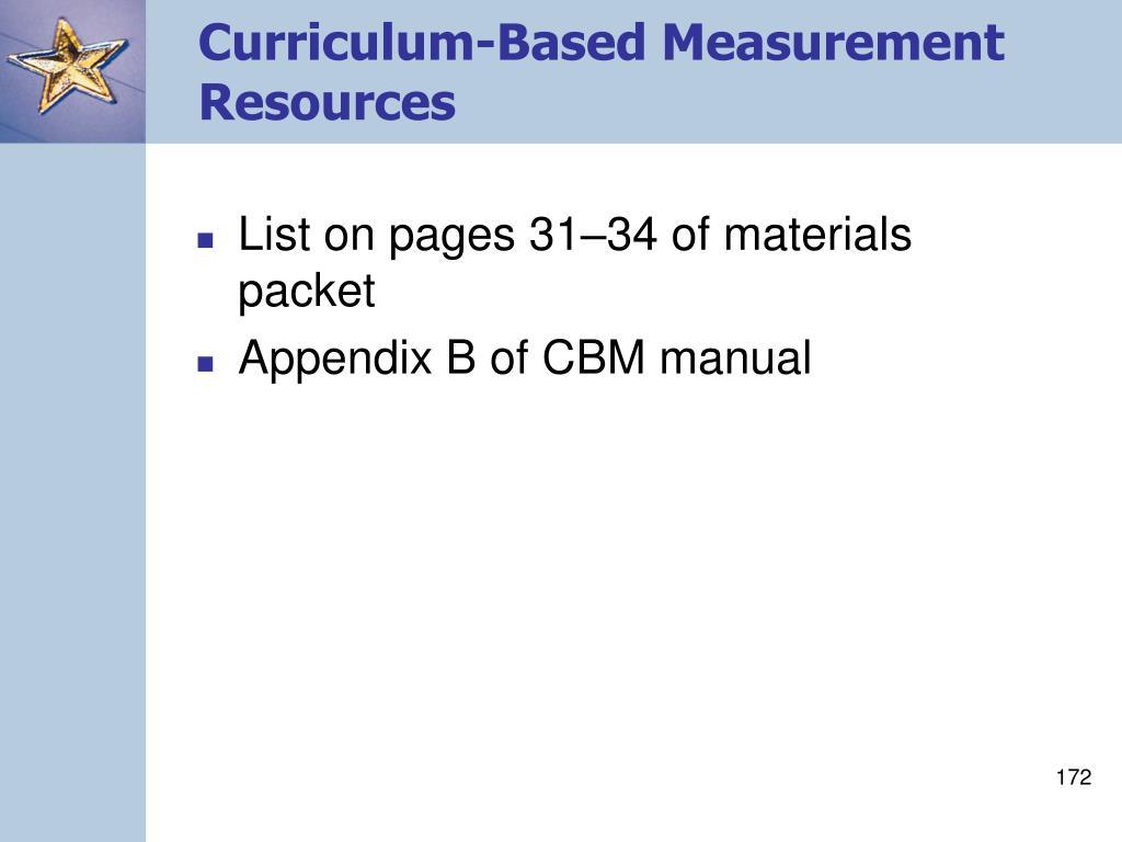 Curriculum-Based Measurement Resources