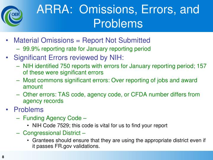 ARRA:  Omissions, Errors, and Problems