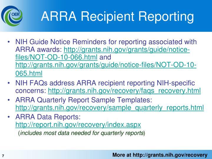 ARRA Recipient Reporting