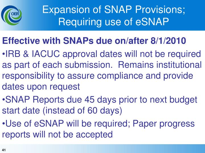 Expansion of SNAP Provisions;