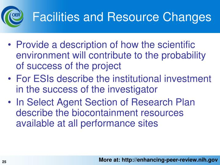 Facilities and Resource Changes