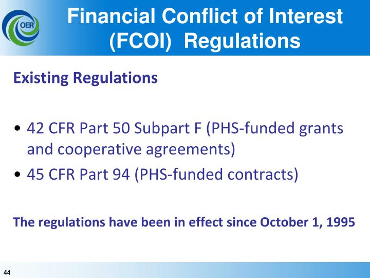 Financial Conflict of Interest (FCOI)  Regulations