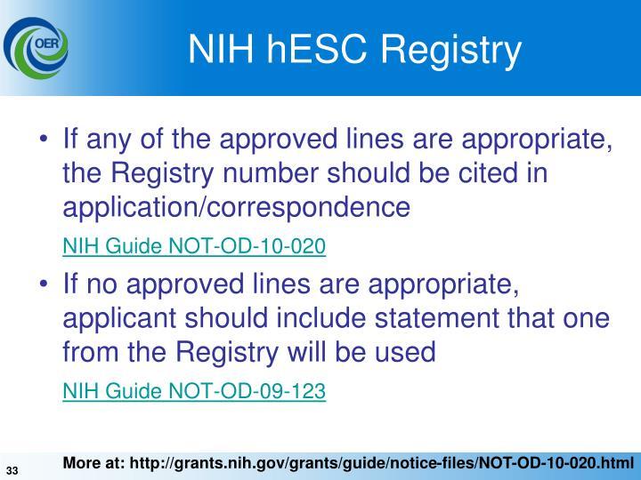 NIH hESC Registry