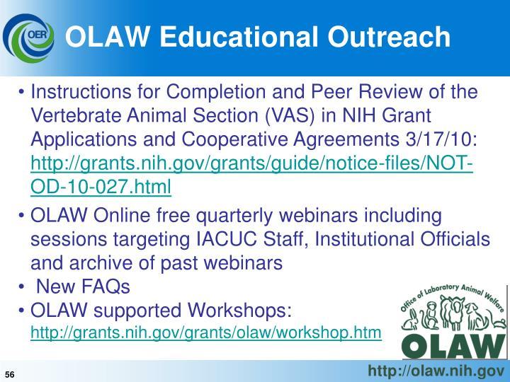 OLAW Educational Outreach