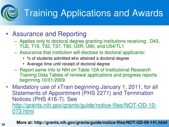 Training Applications and Awards