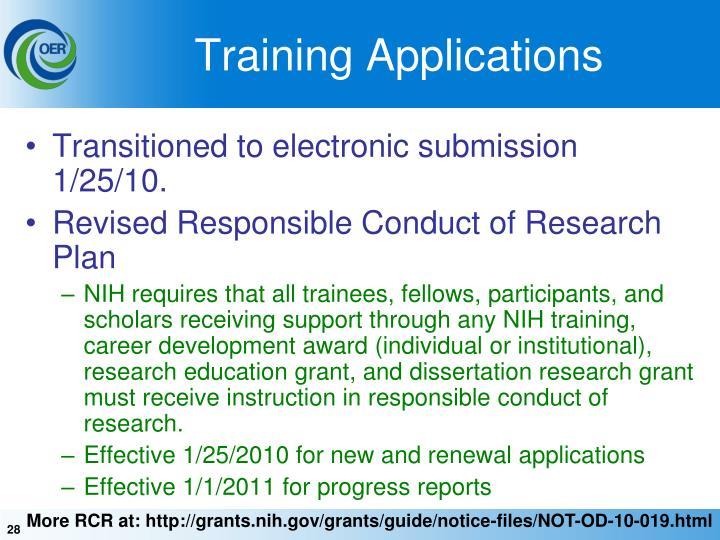 Training Applications