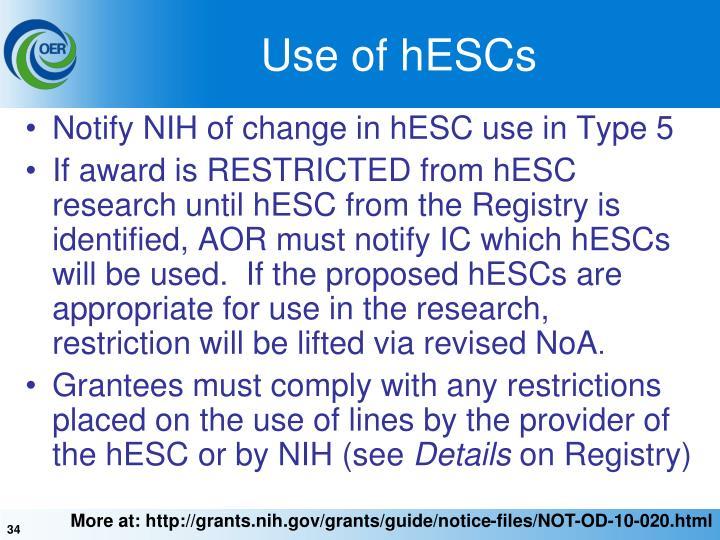 Use of hESCs