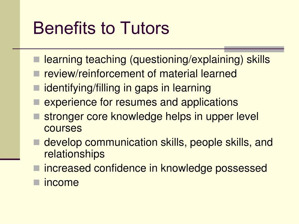 Benefits to Tutors