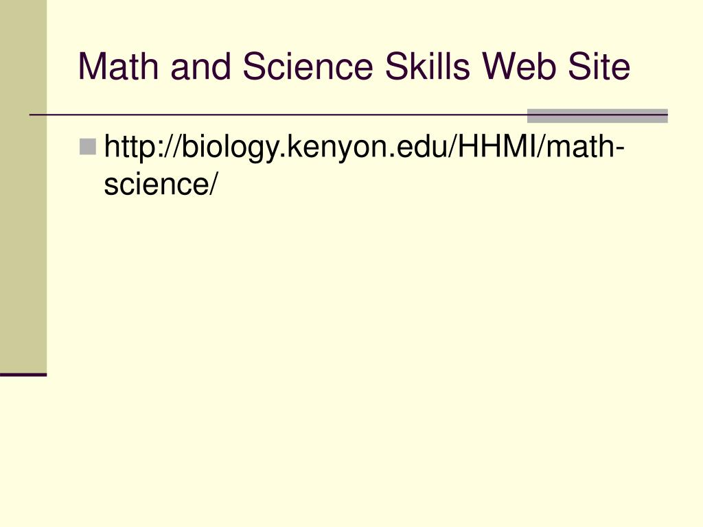 Math and Science Skills Web Site
