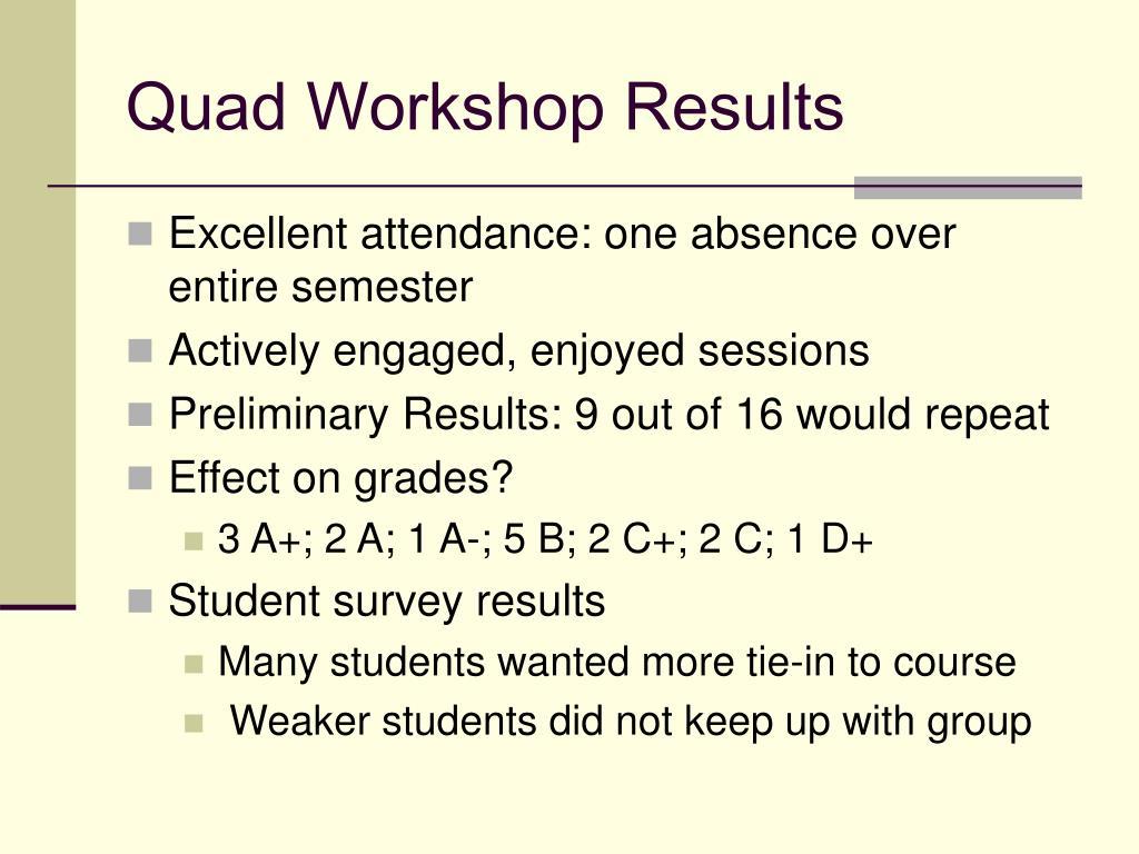 Quad Workshop Results