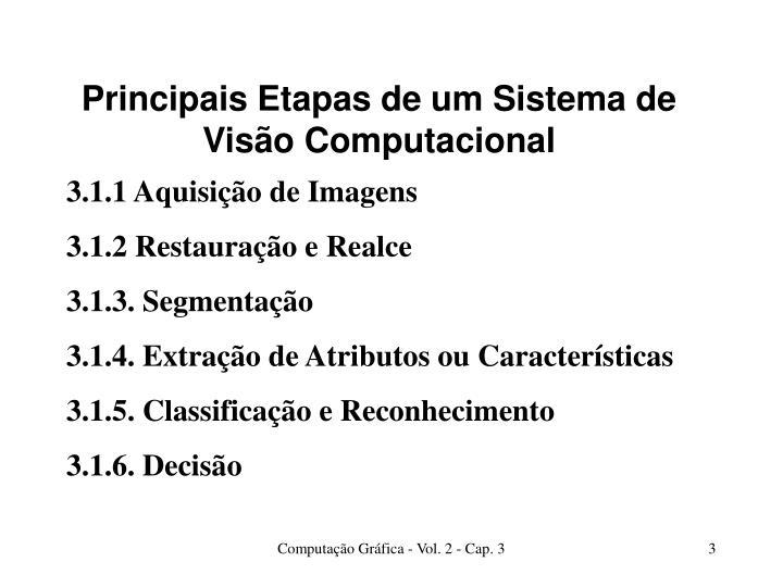 Principais etapas de um sistema de vis o computacional