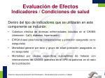 evaluaci n de efectos indicadores condiciones de salud