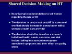 shared decision making on ht