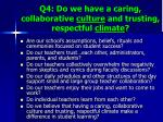 q4 do we have a caring collaborative culture and trusting respectful climate