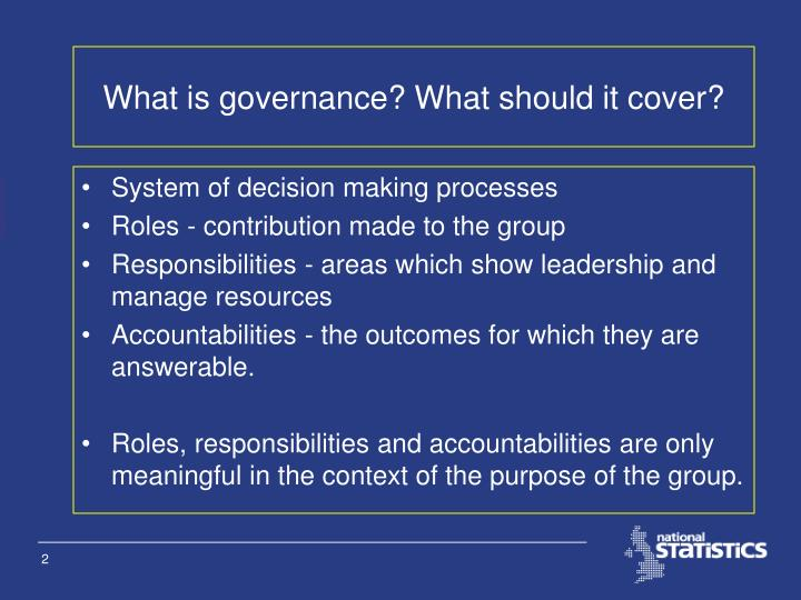 What is governance what should it cover