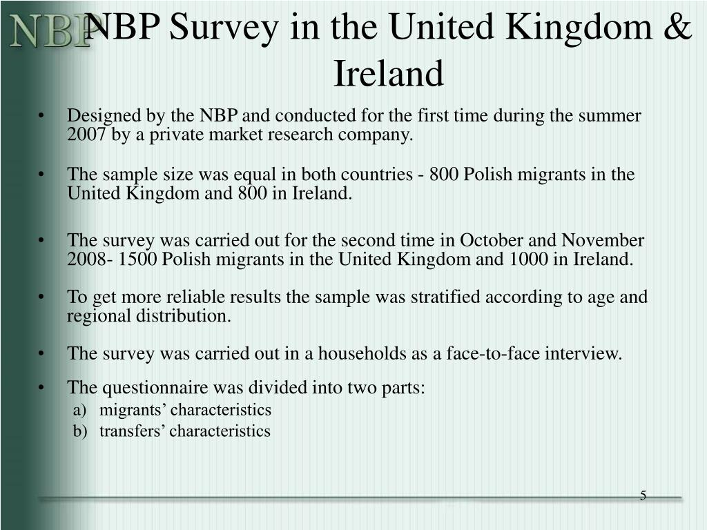 NBP Survey in the United Kingdom & Ireland
